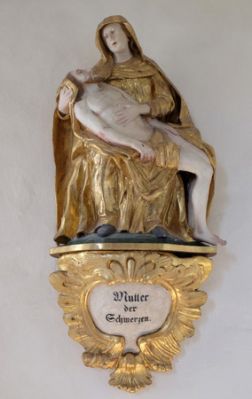 Our Lady of Sorrows, statue in chapel Amorsbrunn in Amorbach, Forest of Odes Bavaria, Germany