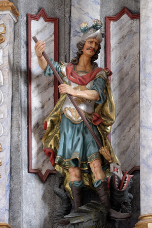 Statue of Saint George on the main altar in the Church of Assumption of the Virgin Mary in Pokupsko, Croatia Stock Photo