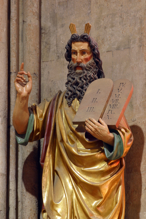 Moses, statue in Zagreb cathedral Stockfoto