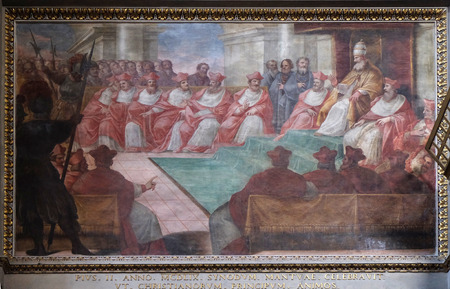 The Council of Mantua of 1459, fresco in Mantua Cathedral dedicated to Saint Peter, Mantua, Italy