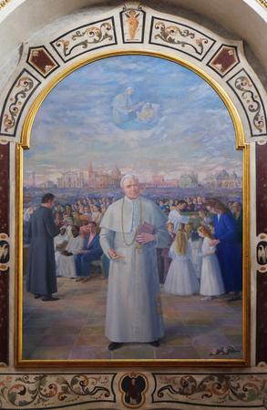 Saint Pio X, altarpiece in Mantua Cathedral dedicated to Saint Peter, Mantua, Italy