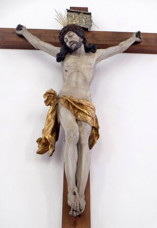 Jesus on the Cross, Maria im Grunen Tal pilgrimage church in Retzbach in the Bavarian district of Main-Spessart, Germany Stok Fotoğraf
