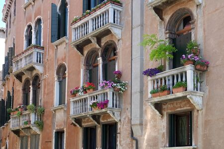 Flowers and plants in balcony of old, historical, typical building in Venice. Image shows architectural style and lifestyle of the region in Venice, Italy