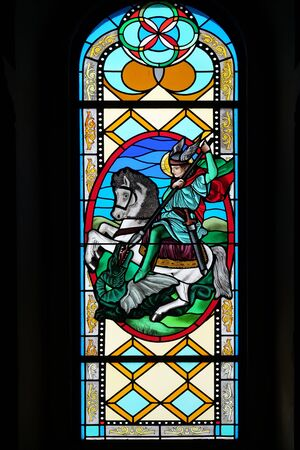 Saint George, stained glass window in the Shrine of the Our Lady Queen of Peace in Hrasno, Bosnia and Herzegovina