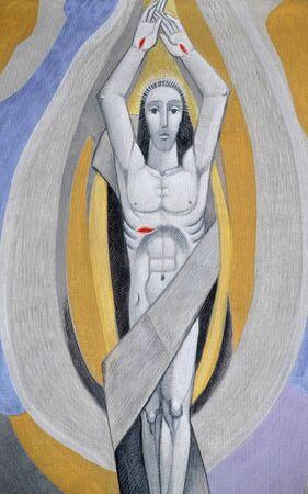 Résurrection du Christ, église de la Sainte Trinité à Gemunden am Main, Bavière, Allemagne