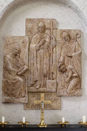 Saints Anselm of Canterbury, the bishops Liudger and Ansgar, missionary in Scandinavia, altar in Munsterschwarzach Abbey, Benedictine monastery, Germany