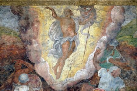 Resurrection of Christ, the facade of the Mazzanti House decorated with frescoes in Verona, Italy