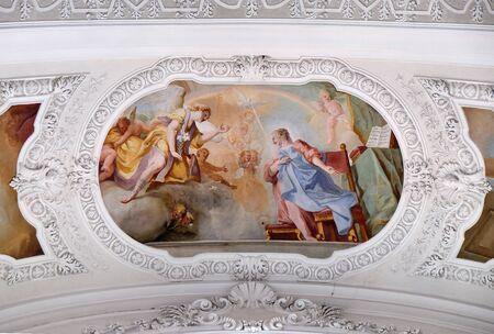 Annunciation to Mary, fresco by Cosmas Damian Asam in the Basilica of St. Martin and Oswald in Weingarten, Germany Archivio Fotografico
