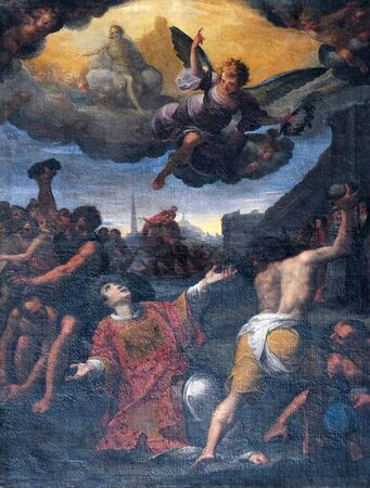 Stoning of St. Stephen, Basilica of St. Martin and Oswald in Weingarten, Germany Stock Photo