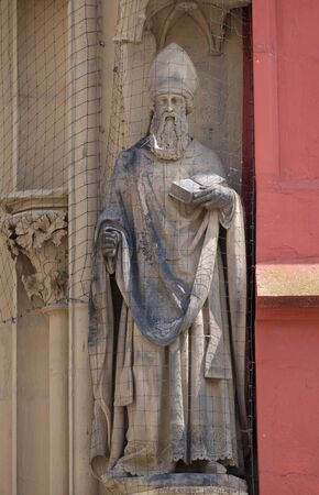 Statue of Saint on the portal of the Marienkapelle in Wurzburg, Bavaria, Germany