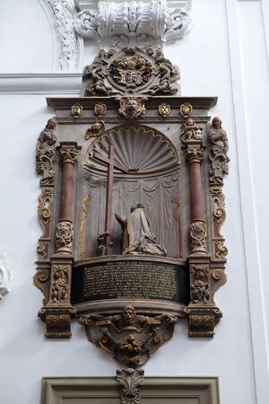 Memorial to the Cathedral provost Neithard von Thungen in Wurzburg Cathedral dedicated to Saint Kilian, Bavaria, Germany 스톡 콘텐츠