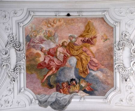 Jesus returns to His Father in heaven, fresco in Neumunster Collegiate Church in Wurzburg, Germany