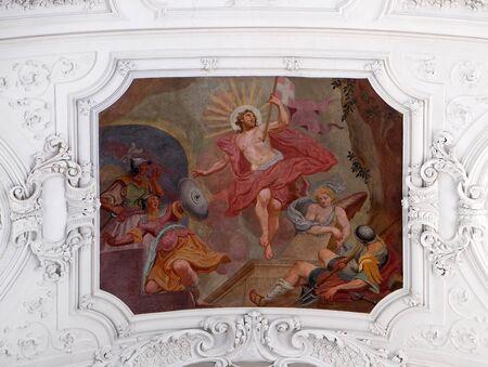 Resurrection of Christ ceiling fresco in Neumunster Collegiate Church in Wurzburg, Germany