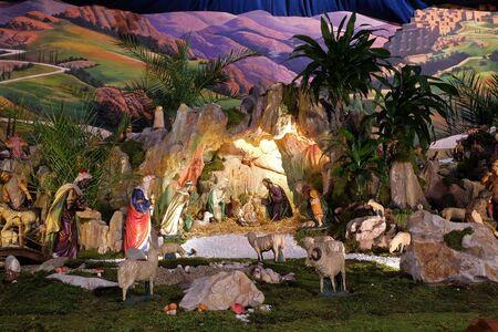 Nativity Scene, Christmas creche in the Saint Francis of Assisi church in Zagreb Stock Photo