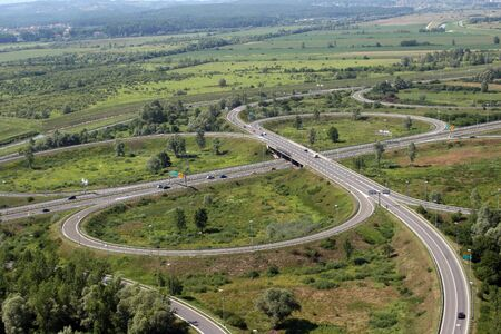 Aerial shot of highway A1 near Zagreb, Croatia
