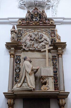 Epitaph for Cathedral dean Johann Konrad Kottwitz in Wurzburg Cathedral dedicated to Saint Kilian, Bavaria, Germany