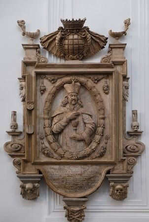 Memorial to the Cathedral provost Franz Ludwig Faust von Stromberg in Wurzburg Cathedral, Bavaria, Germany