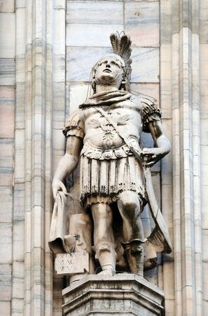 Judas Maccabaeus, statue on the Milan Cathedral, Duomo di Santa Maria Nascente, Milan, Lombardy, Italy