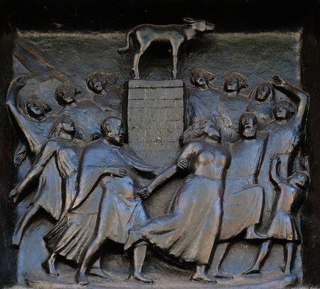 The Worship of the Golden Calf, relief on the door of the Grossmunster (