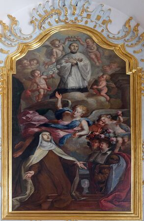 St. Mary Magdalene de Pazzi with St. Aloysius kneeling on a cloud, Saint Aloysius Gonzaga altar in Jesuit church of St. Francis Xavier in Lucerne, Switzerland