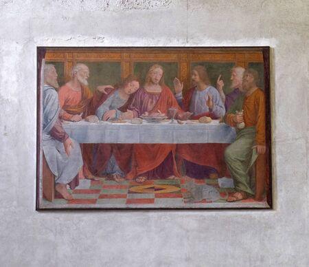 Last Supper by Bernardino Luini, fresco in the Santa Maria degli Angeli church in Lugano, Switzerland
