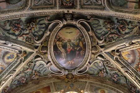 Coronation of the Virgin Mary, painting in the church of St. Victor on the Fishermen Island, one of the famous Borromeo Islands of Lake Maggiore, Italy Stockfoto
