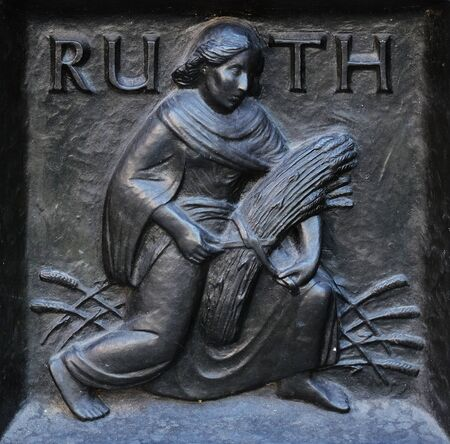 The pious Ruth, relief on the door of the Grossmunster (