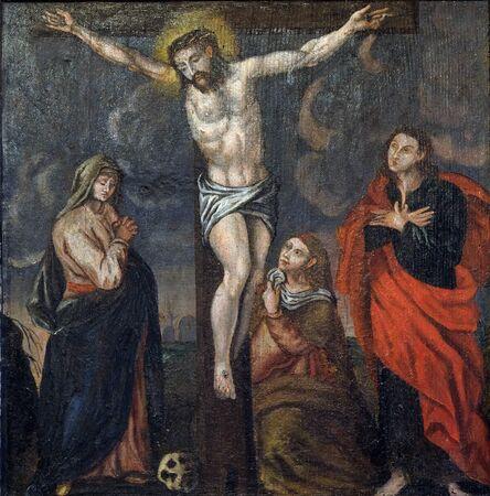 Crucifixión Jesús muere en la cruz, retablo de la Iglesia de Santa Bárbara en Velika Mlaka, Croacia