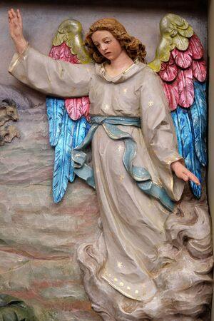 Angel of the Lord visited the shepherds and informed them of Jesus' birth, altarpiece in the church of Saint Matthew in Stitar, Croatia Stock Photo