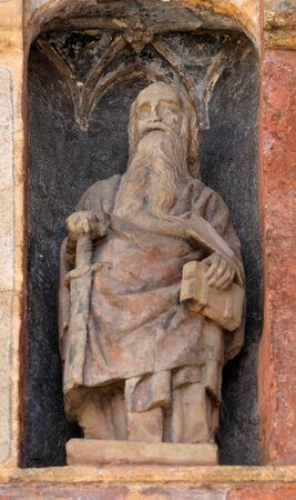 Statue of saint on the south portal of the church of St. Mark in Zagreb, Croatia