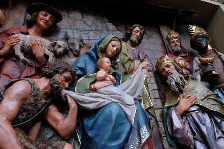 Nativity Scene, altarpiece in the church of Saint Matthew in Stitar, Croatia Stock Photo