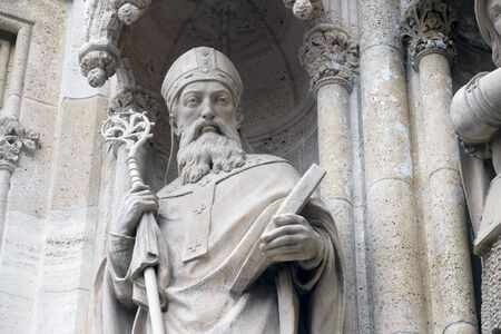 Statue of Saint Methodius on the portal of the Zagreb cathedral