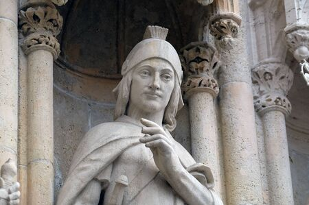 Statue of Saint Florian on the portal of the cathedral 免版税图像