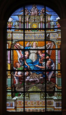 Assumption of the Virgin Mary, stained glass windows in the Saint Laurent Church, Paris, France