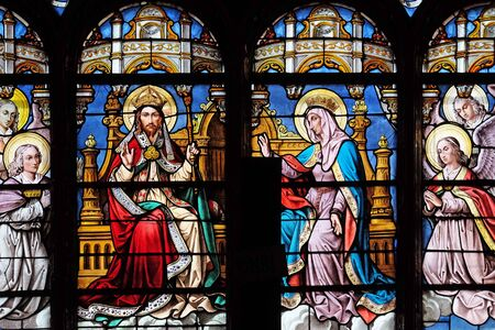 Stained glass window in Saint Eustache church in Paris, France