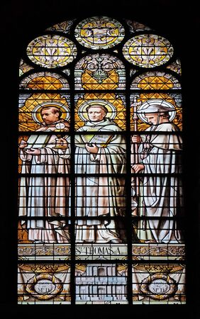 Saint Thomas Aquinas, stained glass window in the Saint Augustine church in Paris, France