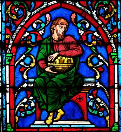Noah And His Ark, stained glass window in the Notre Dame Cathedral, UNESCO World Heritage Site in Paris, France