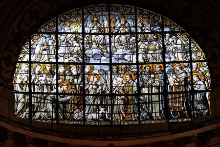 The Trinity Surrounded by All Saints by Edouard Amedee Didron, stained glass window in Saint Thomas Aquinas in Paris, France