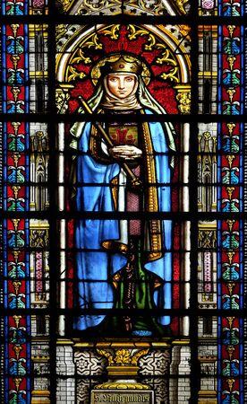 Saint Radegund, stained glass window in the Basilica of Saint Clotilde in Paris, France Reklamní fotografie
