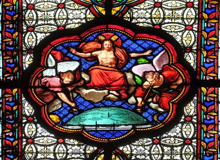 Christ blessing, stained glass window in the Basilica of Saint Clotilde in Paris, France