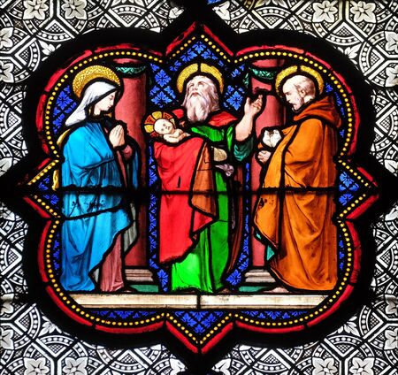 Presentation in the Temple, stained glass window in the Basilica of Saint Clotilde in Paris, France