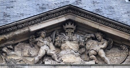 Architectural fragments of Louvre building in Paris