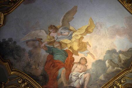 Abraham sacrifices Isaac, fresco in Church Santa Maria Maggiore in Florence, Tuscany, Italy