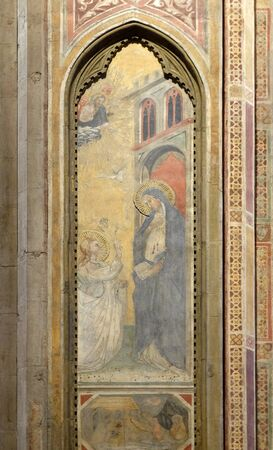 Annunciation to the Virgin Mary, fresco in Orsanmichele Church in Florence, Tuscany, Italy