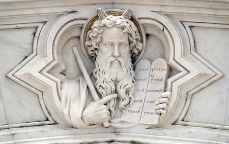 Moses, relief on the facade of Basilica of Santa Croce (Basilica of the Holy Cross) - famous Franciscan church in Florence, Italy