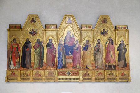 Madonna and Child enthroned between Saints, Basilica of Santa Croce (Basilica of the Holy Cross) - famous Franciscan church in Florence, Italy