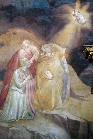 Annonciation aux mages, fresque de Taddeo Gaddi (1295-1366), chapelle Baroncelli dans la basilique Santa Croce (Basilique de la Sainte Croix) - célèbre église franciscaine à Florence, Italie