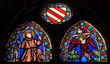 Stigmatization of St Francis, stained glass window, Cappella Baroncelli in the Basilica di Santa Croce (Basilica of the Holy Cross) - famous Franciscan church in Florence, Italy