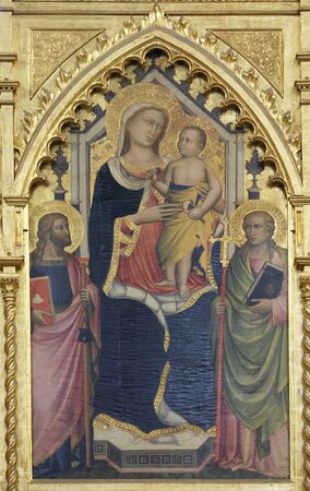 Madonna with the Child by Niccolo Gerini, detail of Polyptych of the high altar in the Basilica di Santa Croce (Basilica of the Holy Cross) - famous Franciscan church in Florence, Italy Reklamní fotografie