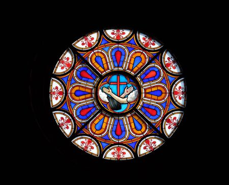 Stigmata of Jesus and Saint Francis, symbol of the Franciscans, stained glass window in the Basilica di Santa Croce (Basilica of the Holy Cross) - famous Franciscan church in Florence, Italy